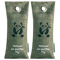 Bamboo Charcoal Air Purifiers by ZooBamboo - Fragrance Free Odor Eliminator Freshener and Dehumidifier for Smokers Smell and Allergies - BEST quality Car Home Sport and Pet Accessories! (2x75g Green)