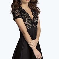 Zotia Plunge Front Backless Lace Skater Dress
