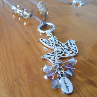 Long charm Necklace  Silver Bird Charm by ChelseaJewels on Etsy