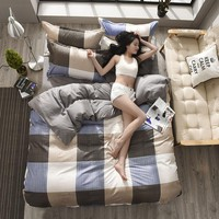 4pcs Double Bedding Set Queen Size King Size with Duvet Cover Bed Sheet Bedspread Cotton Bed Sheets Strip and Plaid Bed Linen