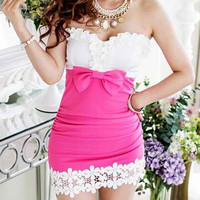 Pink Lace-Paneled Bow Embellished Mini Dress
