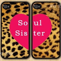 best friend iphone case, iphone 4 case, iphone 4s case -- soul sister iPhone 4 Case, Leopard Decal iPhone 4 Case, Two Case Set