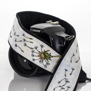 dSLR Camera Strap, Dandelion Wishes, Hand Painted, One of a Kind, OOAK, Artisan Series, dSLR or SLR, Canon or Nikon, Photographer Gift, 258
