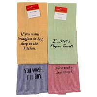 """Home Concepts Kitchen Bistro Towels 15""""x25"""" Striped Set 4 Blue Green Yellow Red"""