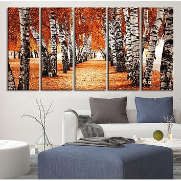Large Wall Art Forest Canvas Print Walking Through Yellow Trees Framed Ready to Hang Autumn