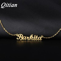 Qitian Name Necklace Gold Color Stainless Steel Personalized Custom Necklaces For Gift Nameplate Pendant Choker Not Change Color