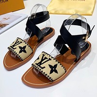LV Louis Vuitton Woven Embroidered Letters Ladies Flat Sandals Beach Slippers Shoes Black
