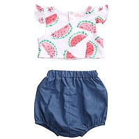 Summer born Baby girls Watermelon Pattern T Shirt + Bloomers Baby Girls Summer Outfits Clothes 0-24M 2Pcs/Set