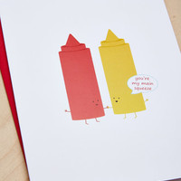 Queenies Cards Ketchup and Mustard Card