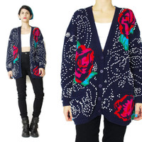 80s Rose Floral Cardigan Vintage Embroidered Cardigan Slouchy Sweater Grandma Navy Blue Cardigan Winter Polka Dot Button Up Cardigan (L)