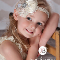 Flower Girl Headband Baby Headband Baby Headbands Baby Girl Headband Newborn Headband Toddler Head Band Baby Bows Ivory/Champagne