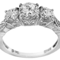 Sterling Silver Cubic Zirconia 3-Stone Ring, Size 8