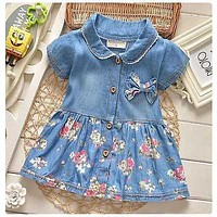 2016 High hot sell fashion dress baby girl cute denim dresses kids casual clothing summer short sleeve print child vestidos