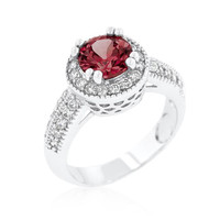 Garnet Halo Engagement Ring, size : 06