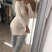 Sexy Solid Color Split Sweater