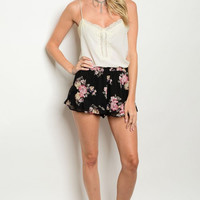 Women's Fashion Dressy Relaxed Boho Floral Short Shorts Hot Pants Casual
