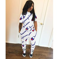 Champion Newest Popular Women Casual Print Long Sleeve Top Pants Set Two-Piece Sportswear White