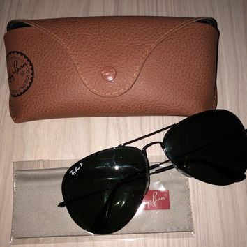 Authentic Ray Ban Aviator Large Metal Black RB3025