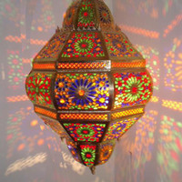 Large brass Fes chandelier, great workmanship, all hand carved & hand tooled in Fes - Morocco. A great add to any home decor