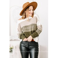 Hey Jade Soft Knit Color Block Sweater