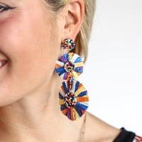 Feel Better Rainbow Beaded Pinwheel Earrings