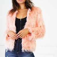 Ivonne Faux Fur Coat - Pink