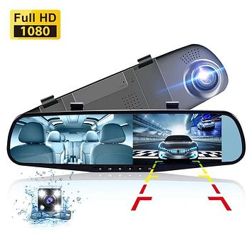 Rear View Mirror With Rear And Dash Cam