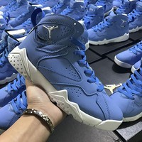 Nike Air Jordan Retro 7 VII Blue White AJ7 Women Sports Basketball Shoes