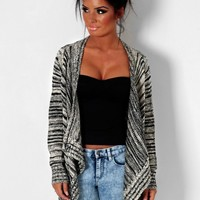 Zaria Cream & Black Stripe Waterfall Thick Knit Cardigan | Pink Boutique