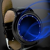 Abco Tech New Fashion Elegant Design Blue Hybrid Touch Screen LED Watch , With 60 Blue LED Lights, High Class Design, Leather Band, Support Touchscreen
