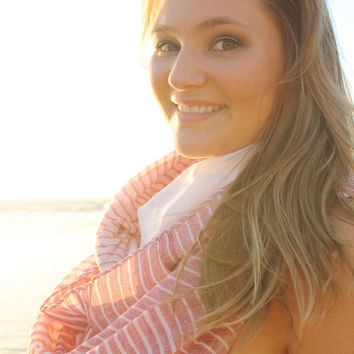 Striped Infinity Scarf in Pink
