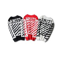 Off white hoodie long sleeve fleece the kanye hoodie sweatshirts red white black color