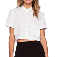 Marc by Marc Jacobs Stretch Poplin Crop Top in White