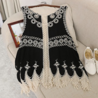 Fashion Retro V-Neck Sleeveless Hollow Embroidery Lace Lace Vest Tops