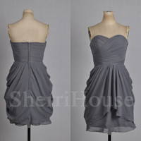 Ruffled Sweetheart Strapless A-line Short Bridesmaid Celebrity Cocktail Dress ,Chiffon Evening Party Prom New Homecoming Dress
