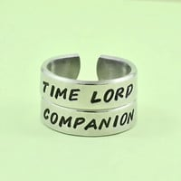 Time Lord Companion Ring Set, Doctor Who Inspired Rings, Dr Who Fans Jewelry, Whovian Pair Rings, Best Friends Ring Set