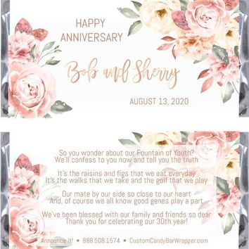 Floral Anniversary Candy Bar Wrappers