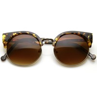 Women's Vintage Inspired Half Frame Round Cat Eye Sunglasses 9494