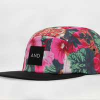 ANDCLOTHING — Burgundy Floral AND 5 Panel Cap