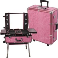 Sunrise Pink Crocodile Textured Printing Professional Rolling Studio Makeup Case With Lights, Legs & Mirror - C6010