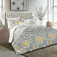 Plush Gray Yellow Geometric Medallion 7-Piece Comforter Set in Full/Queen