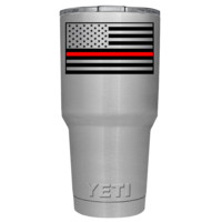 YETI Firefighter Thin Red Line Flag on Stainless 30 oz Tumbler