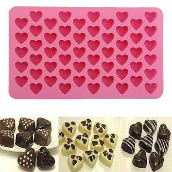 55 Silicone Heart Cake Chocolate Cookies Baking Mould DIY Ice Cube Mold Tray