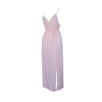 Long Pink Sheer Lace Belted Nightgown Size Large