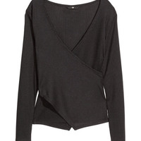H&M Ribbed Wrap-front Top $17.99