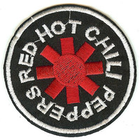 Red Hot Chili Peppers Iron-On Patch Black Round Logo