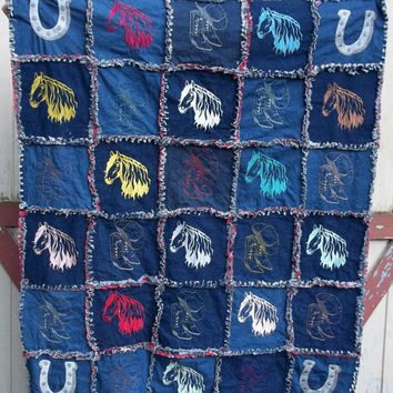 handmade rag quilt embroidered horse heads horseshoes cowboy hats cowgirl boots lap quilt
