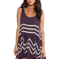 Free People Voile & Lace Trapeze Dress in Purple