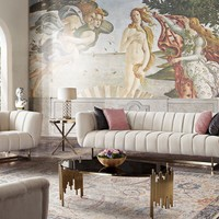 Venus Cream Fabric Sofa & Chair 2PC Set w/ Contrasting Pillows & Gold Finished Metal Base