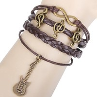 Music Notes and Guitar Charm Pendants on Handmade Leather Infinity Bracelet